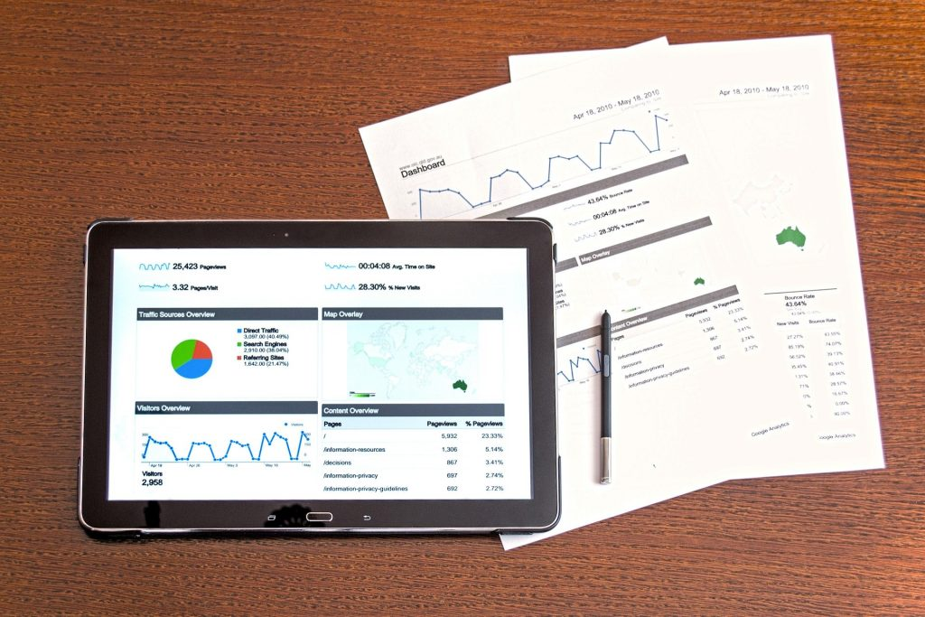 An image of site analytic information.
